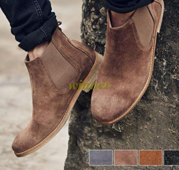 New Men's Flats Suede Leather Elastic Top Pointed Toe Chelsea Pull On Ankle Boot