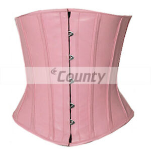 Brown Real Leather Underbust Corset Full Steel Boned Spiral Basque Lacing Shaper
