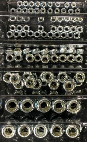100pc Nylock Nut Assortment Kit sizes M4 M5 M6 M8 M10