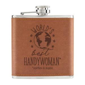 World-039-s-Best-Handywoman-170ml-Cuir-PU-Hip-Flasque-Fauve-Worlds-Best-Superhero