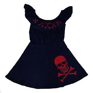Kreepsville-666-Gothic-Horror-Punk-Red-Skull-Crossbones-Black-Mini-Dress-Size-L