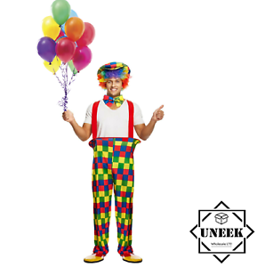 CLOWN COSTUME Adult  Circus Carnival Womens Mens Outfit Halloween Fancy Dress UK