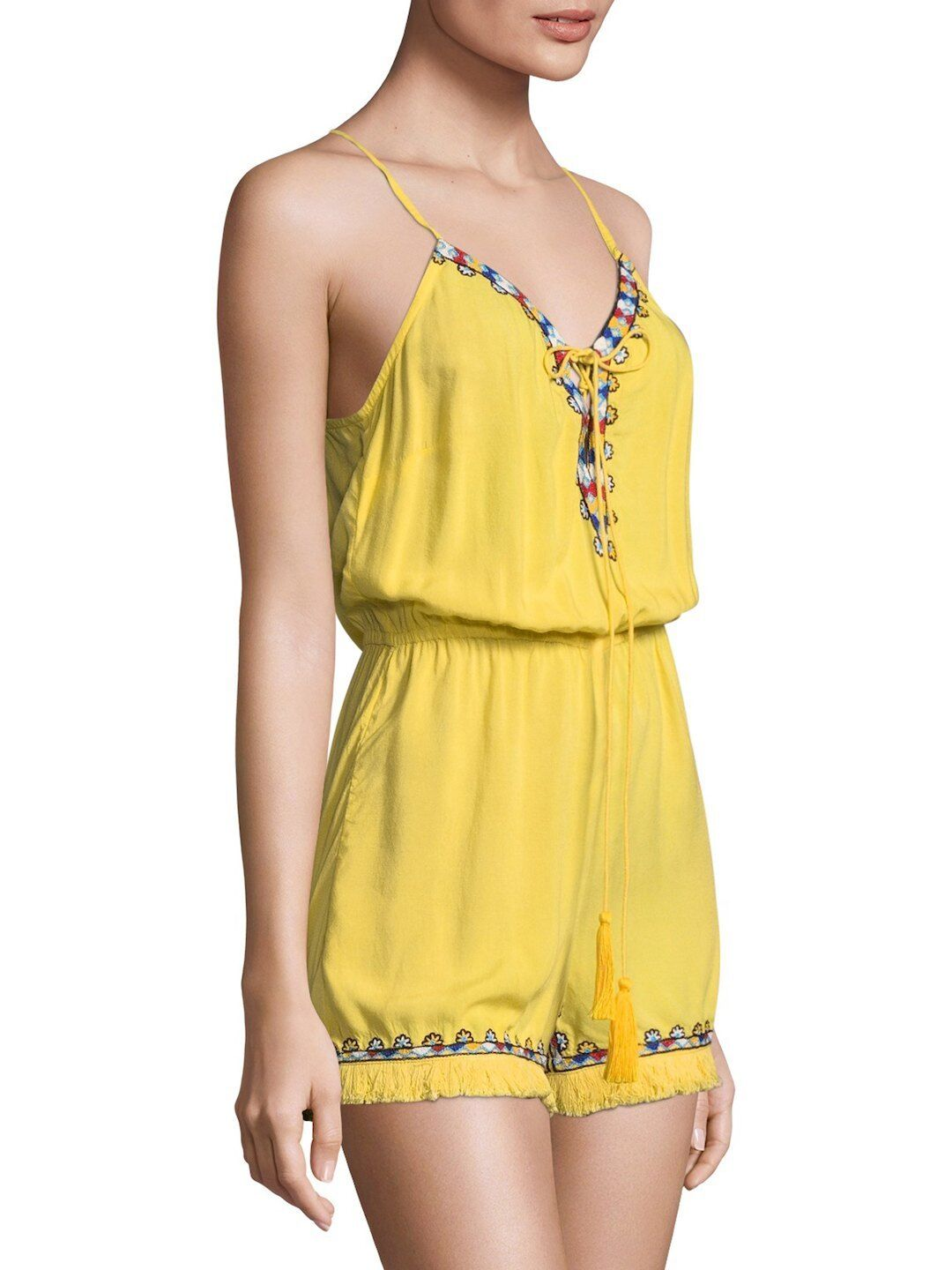 PIA PAURO Blazing Yellow Embroidered Drawstring Tassel Romper  213 SAKS Size M