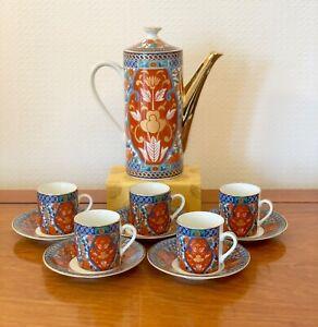 VINTAGE-JAPANESE-COFFEE-SET-15-PIECES-ORIENTAL-IMARI-TEASET