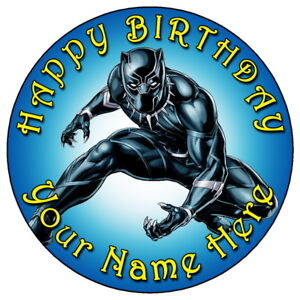 The Black Panther Personalised Cake Topper printed on icing