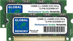 128MB (2 x 64MB) 60ns 72-PIN EDO SODIMM MEMORY RAM KIT FOR LAPTOPS/NOTEBOOKS