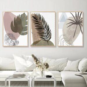 Shining Leaf Abstract Artwork Prints Unframed 3 Piece Canvas Wall Art Set
