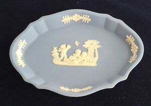Details About Wedgwood Jasper Ware White And Blue Trinket Dish Pin With Cherub Design