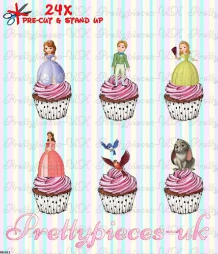 Sophia The First 24 Stand-Up Pre-Cut Wafer Paper Cup cake Toppers