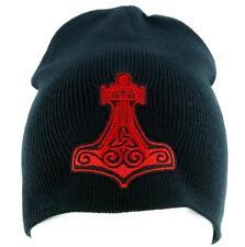 Red Mjolnir Thor's Hammer Norse Viking God Beanie Alternative Clothing Knit Cap