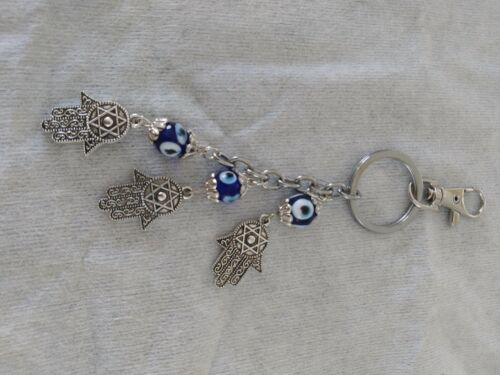 Hamsa Hand Evil Eye beads Blue+silver Charm Amulet luck Hanging Key chain /& Home