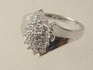 10k Ladies Cluster Diamond Ring 10 Karat White Gold 25 Carat Multi Diamond Ring Ebay