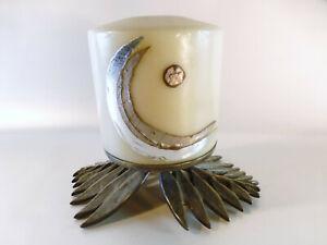Kerzenstaender-rund-mit-Blaettern-Bronze-Durchmesser-9-5-cm-Schmuckleuchter