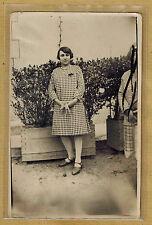 Carte Photo vintage card RPPC Creuse Saint Vaury femme robe mode fashion pz0165