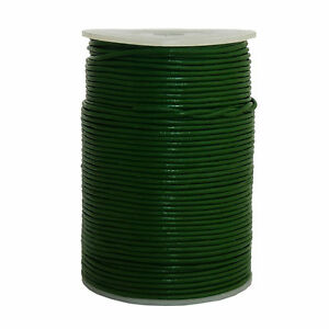 100m-Lederband-1-5-mm-stark-0-33-m-Farbe-gruen-100-Meter-auf-Rolle-Spule