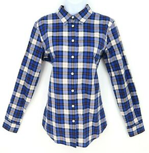Banana-Republic-Shirt-Button-Up-Womens-Size-M-Blue-Plaid-100-Cotton-Long-Sleeve