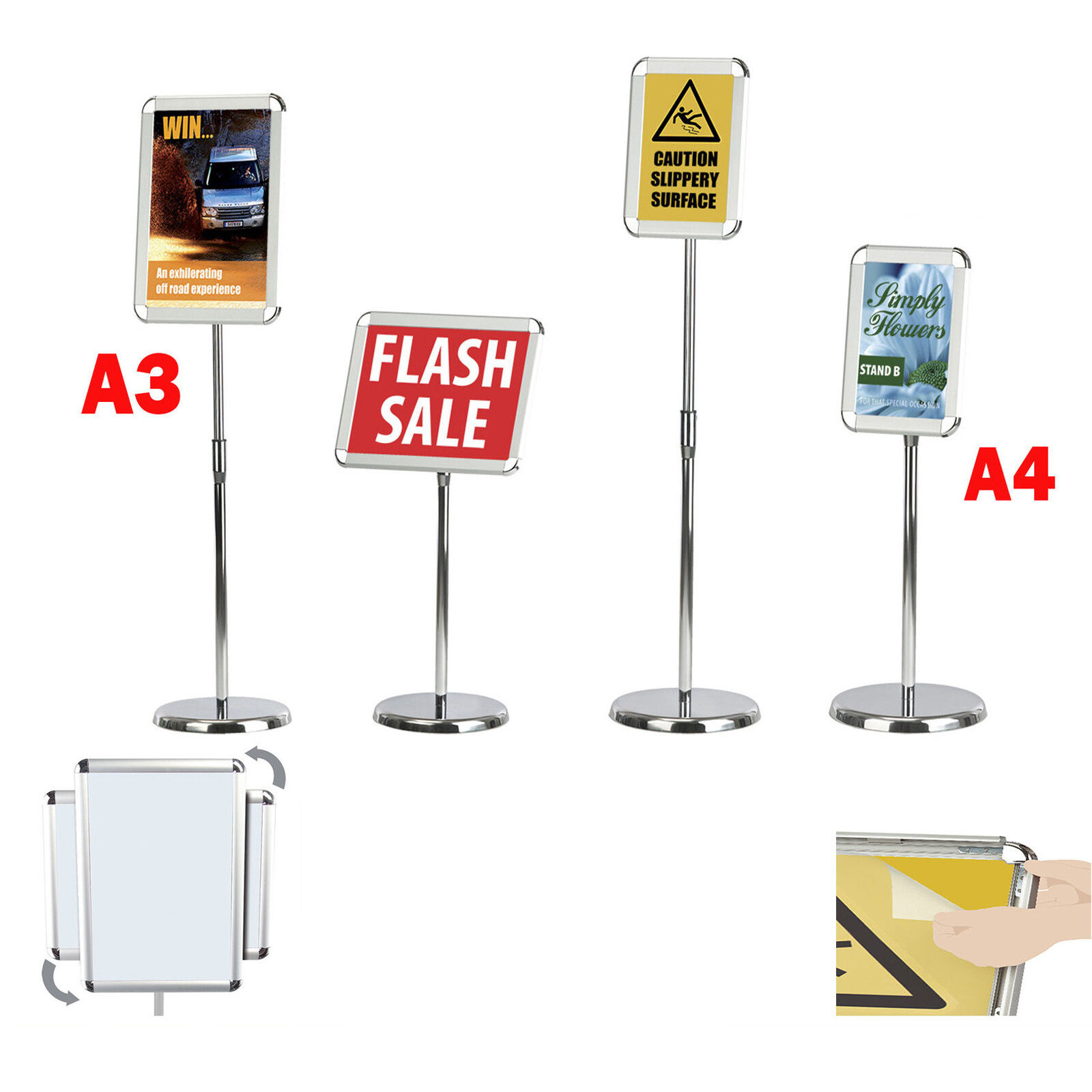 A3 A4 FLOOR STANDING POSTER DISPLAY EASY ACCESS SNAP FRAME MENU ...