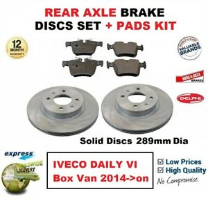 FOR-IVECO-DAILY-VI-Box-Van-2014-gt-on-REAR-AXLE-BRAKE-PADS-DISCS-SET-289mm-Dia