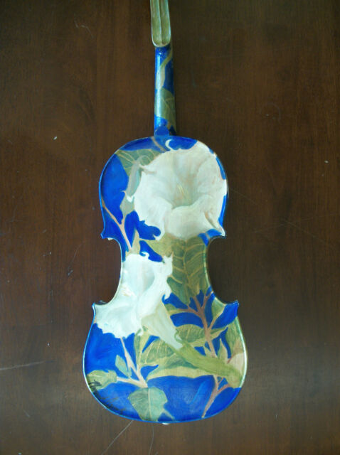 Oil Painting on fiddle Unique Violin Jimson Weed Moon Flower Art Margaret Aycock