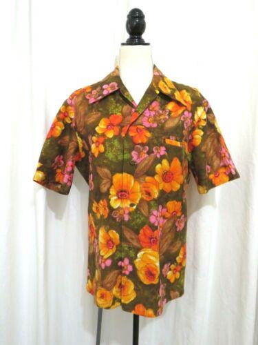 Vintage 1950s Barkcloth Men's Polynesian Shirt Siz
