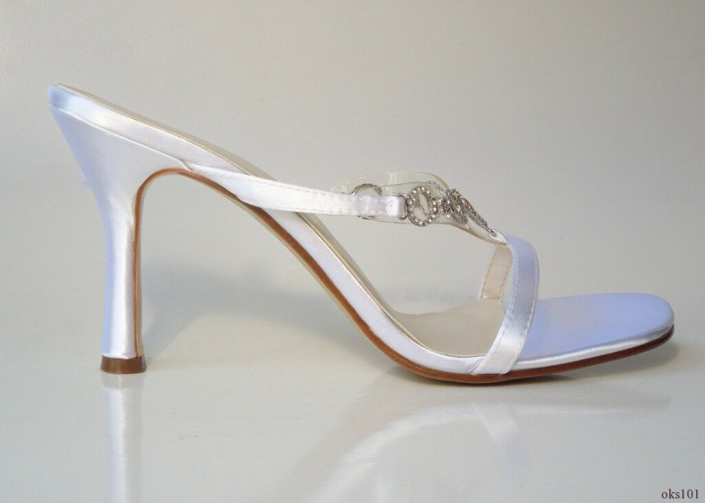 NEU Michaelangelo 'Evie' WEISS satin open-toe JEWELED mules schuhe wedding bridal