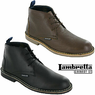 Lambretta Mod Desert Boots Leather Grain Ankle Lace Carnaby Mens Soft Round Toe