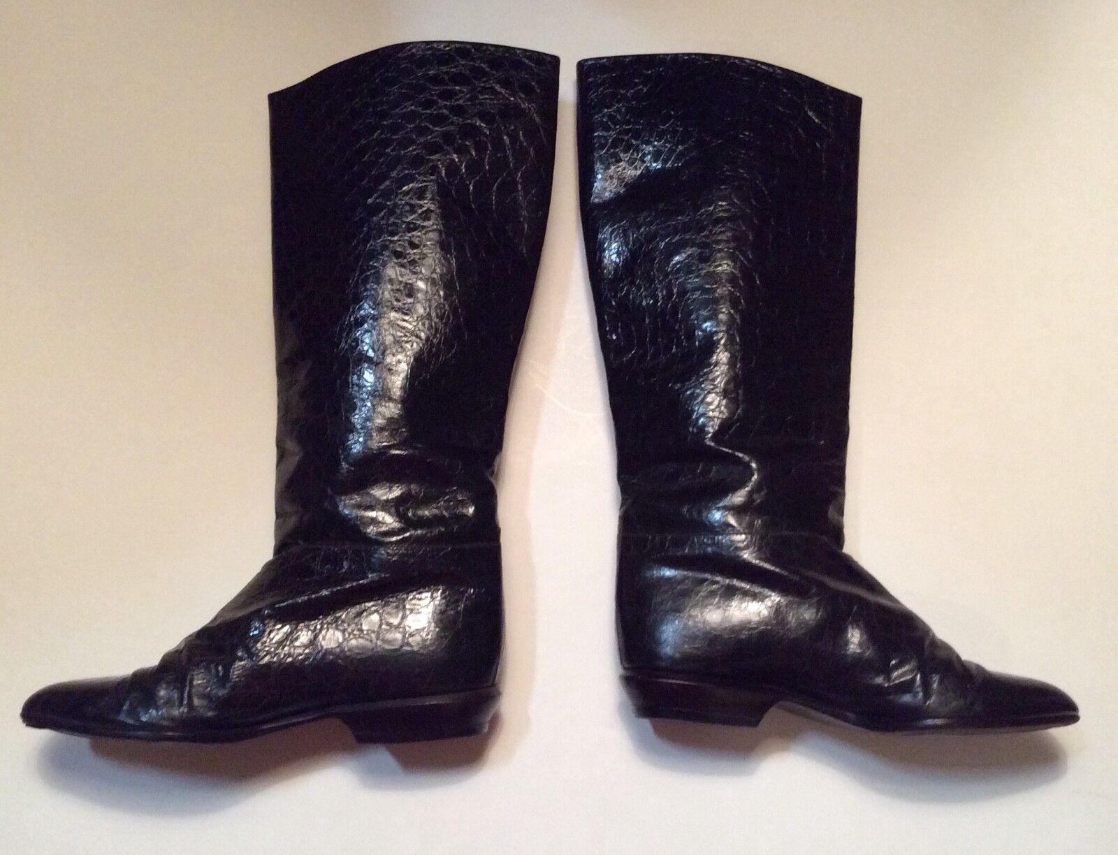 Monique ladies Vtg.Italian croc embossed leather boot sz 8M dk brown16.5 H