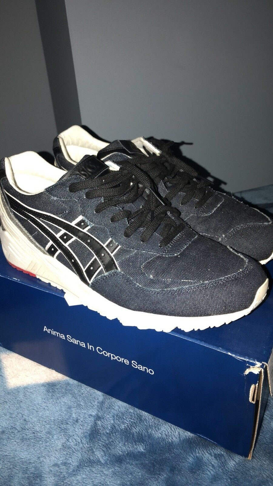 Navy black denim asics size 11