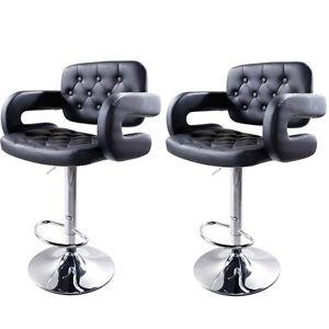 New Modern 2x PU Leather Swivel Bar Stools Hydraulic Pub Chair Adjustable Black