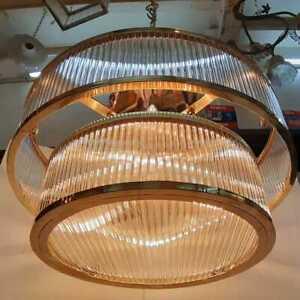 VINTAGE-ANTIQUE-ART-DECO-BRASS-GLASS-ROD-CEILING-FIXTURE-8-LIGHT-CHANDELIER-LAMP