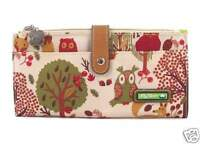 Lily Bloom Large Travel Wallet Clutch Forest Owl Fox Fit Iphone 6+ Ship Intl