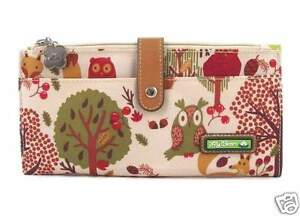 NWT-Lily-Bloom-Large-Travel-Wallet-Clutch-Forest-Owl-Fox-New-SHIP-INTL