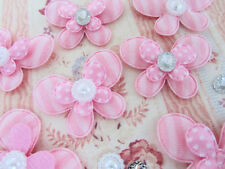 90 Pink Fabric Butterfly +Pearl Jewel +Rhinestone Mix Set/DIY/Craft/Layer H446
