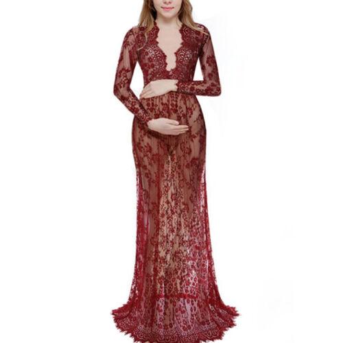 Schwangerschafts Umstandskleid Mesh Spitzen Lang Maxikleid Fotoshooting Kostüme