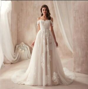 UK-Champagne-Ivory-Lace-Off-Shoulder-A-Line-Real-Beach-Wedding-Dresses-Size-6-18
