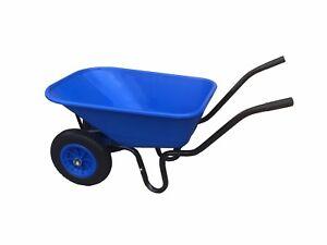 110L DOUBLE WHEELBARROW WITH PUNCTURE PROOF WHEEL & BLUE PLASTIC BODY / BARROW