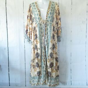 New-Angie-Duster-Kimono-L-Large-Ivory-Paisley-Floral-Tie-Front-Boho-Peasant