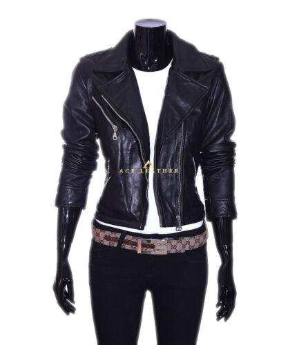 Ladies en cuir Black Retro Biker d'agneau Joan Style Veste véritable Designer IRq08