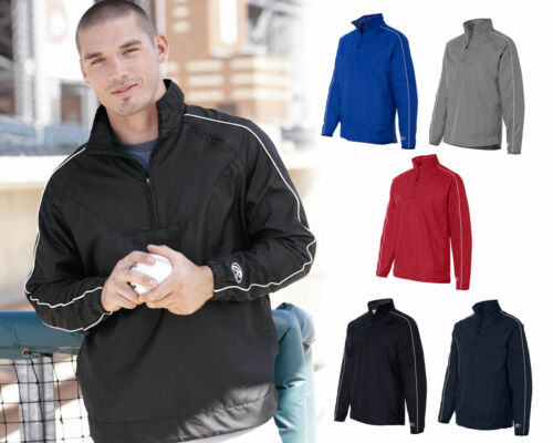 Rawlings Mens Size S-3XL 1//4 Zip Dobby Vented Pullover Wind Shirt Jacket Jumper