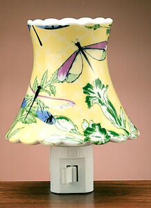 Dragonfly in the Ferns Ceramic Night Light,Nursery Home Decor