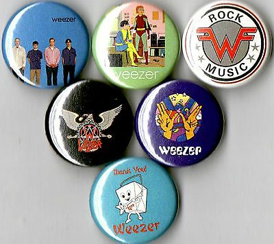 Weezer 6 pins buttons badges blue green red pinkerton 90s