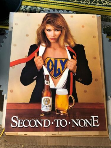 Vintage 1983 Olympia Beer Super Women Woman Girl Poster Oly Second to None NOS