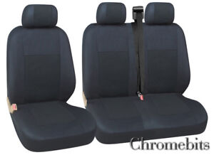 07-16 Tailored Black Driver Double Passenger Seat Covers for Citroen Dispatch