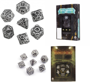 Q-Workshop QWOMTE35  Metal Tech Dice RPG Box  Board Game (Set of 7)