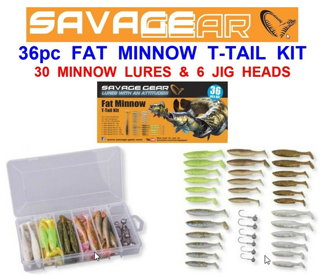 SAVAGE GEAR 36pc FAT MINNOW T-TAIL KIT SEA COARSE FISHING JIG HEAD SHADS LURES