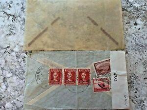 Vintage-Postage-Envelope-1942-Ecuador-to-New-York-City-Rare-Marks-Stamps