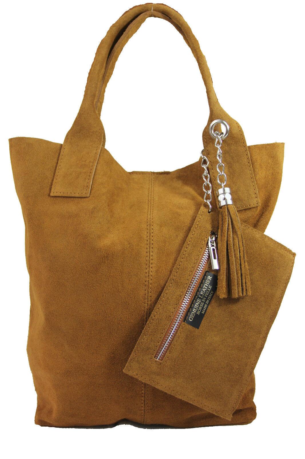 Ital.Henkeltasche Beuteltasche Shopper XXL Damentasche cognac Wildleder      | Outlet Store Online  483389