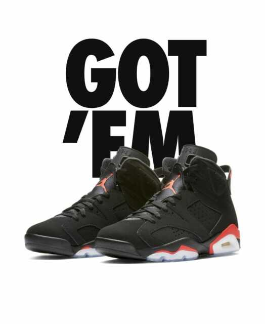 514ee422de752 NEW DS 2019 NIKE AIR JORDAN OG RETRO 6 VI BLACK INFRARED MENS Size 12 384664