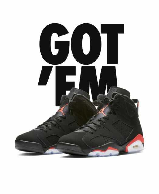 aa207216585ad7 NEW DS 2019 NIKE AIR JORDAN OG RETRO 6 VI BLACK INFRARED MENS Size 12 384664
