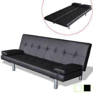 La Foto Se Está Cargando Artificial Leather Convertible Sofa Bed Futon Couch Black